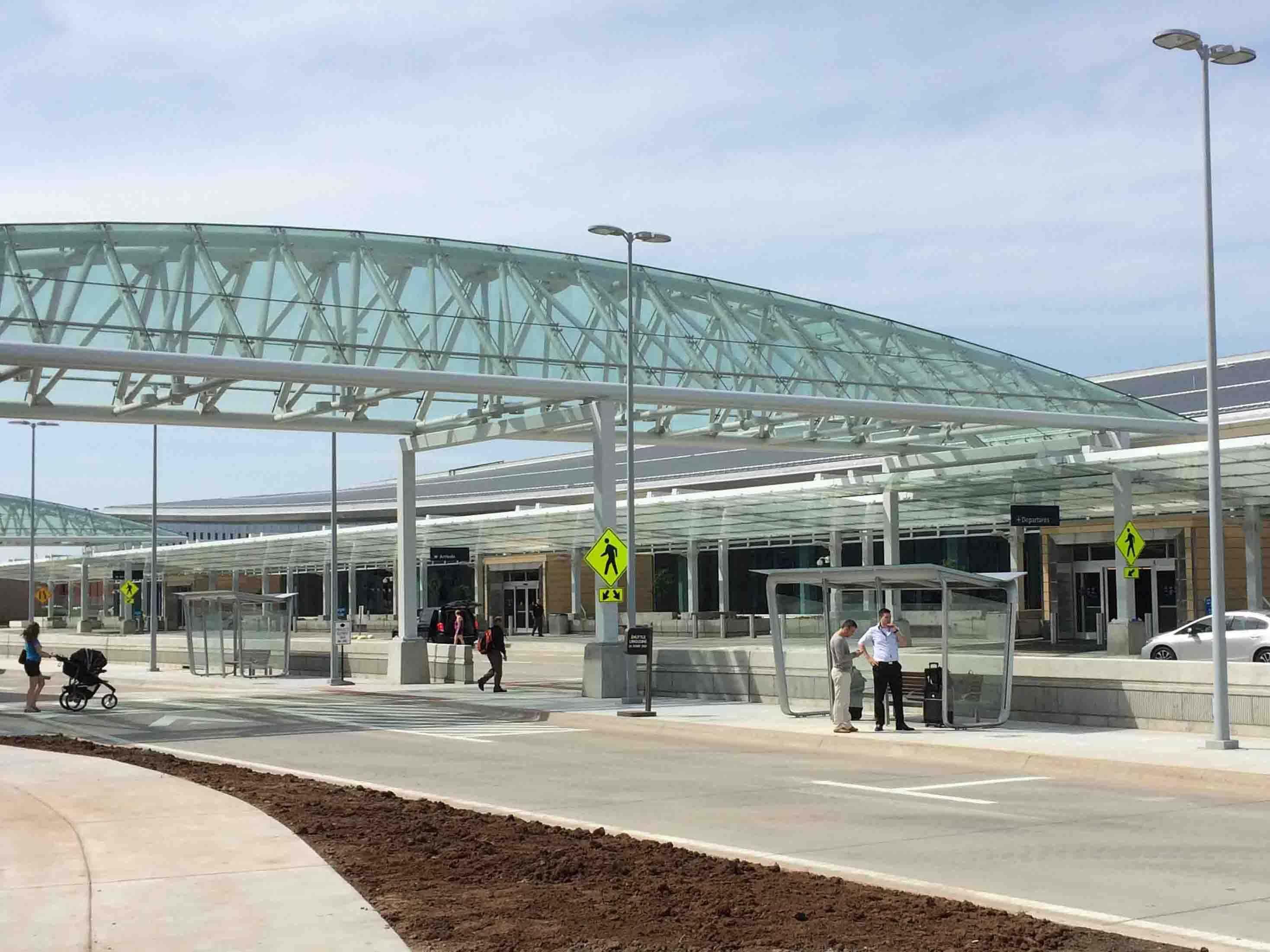 ICT Wichita Airport exterior pedestrian walkway