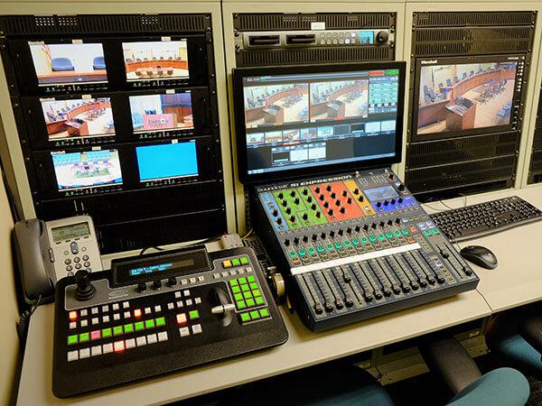 Broadcast system equipment close-up