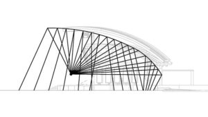 Diagram of unextended amphitheater bandshell roof