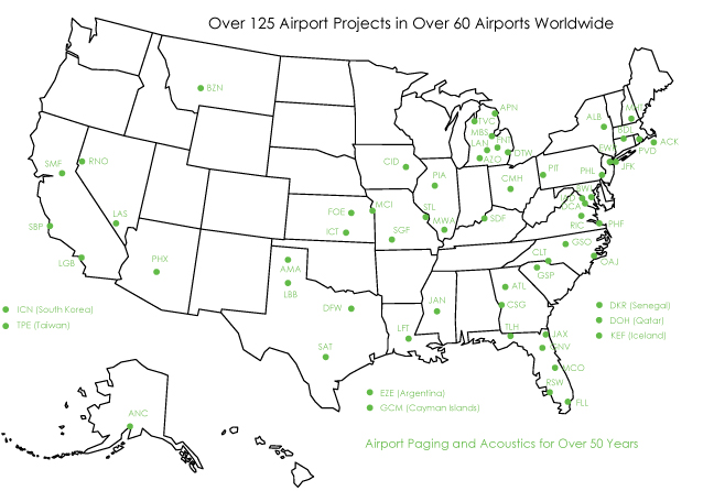 acoustical consultant map of some of the aviation and transit projects we have worked on